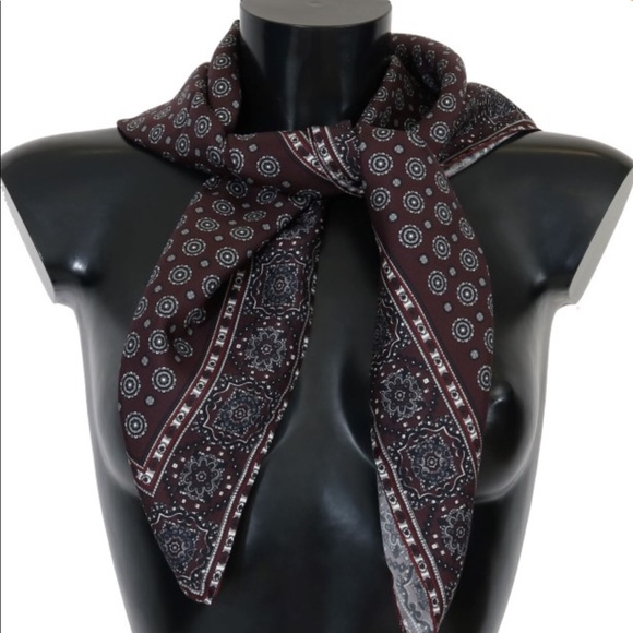 Dolce & Gabbana Accessories - Dolce and Gabbana Bordeaux Silk Scarf